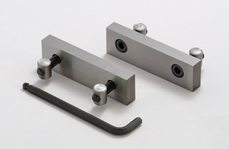 Standard hard vise jaws with the Round Nut Assembly. Hard Jaws can be used 	for many Workholding requirements